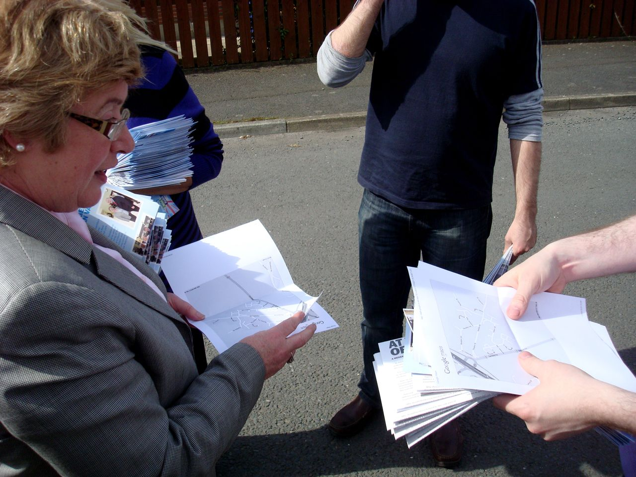 UCUNF's Daphne Trimble and canvassing team consulting the street map before setting off around the doors