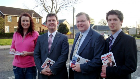 Jeffrey Donaldson and part of his DUP canvassing team