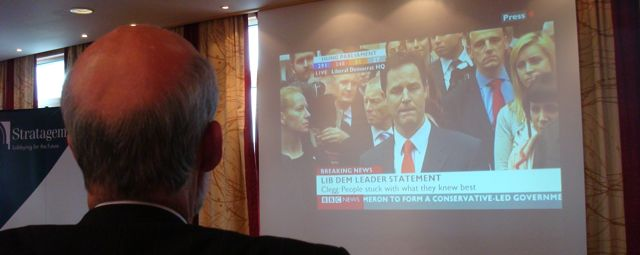 David Ford watching Lib Dem leader Nick Clegg speaking on BBC News election programme