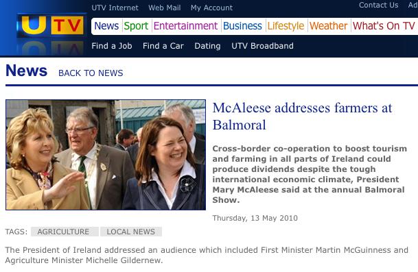 Snippet from UTV website describing Martin McGuiness as First Minister