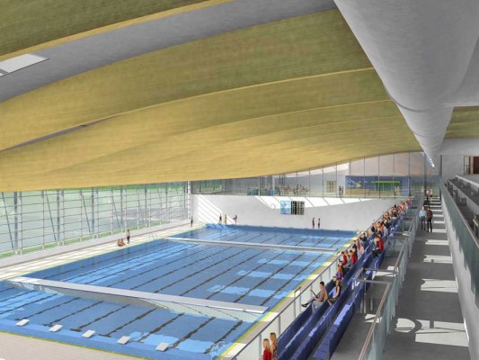 Artist's impression of interior of Bangor's planned Olympic-sized swimming pool
