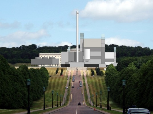 (c) Michael High - image of proposed RoseEngery plant accurately superimposed on Parliament Buildings at Stormont