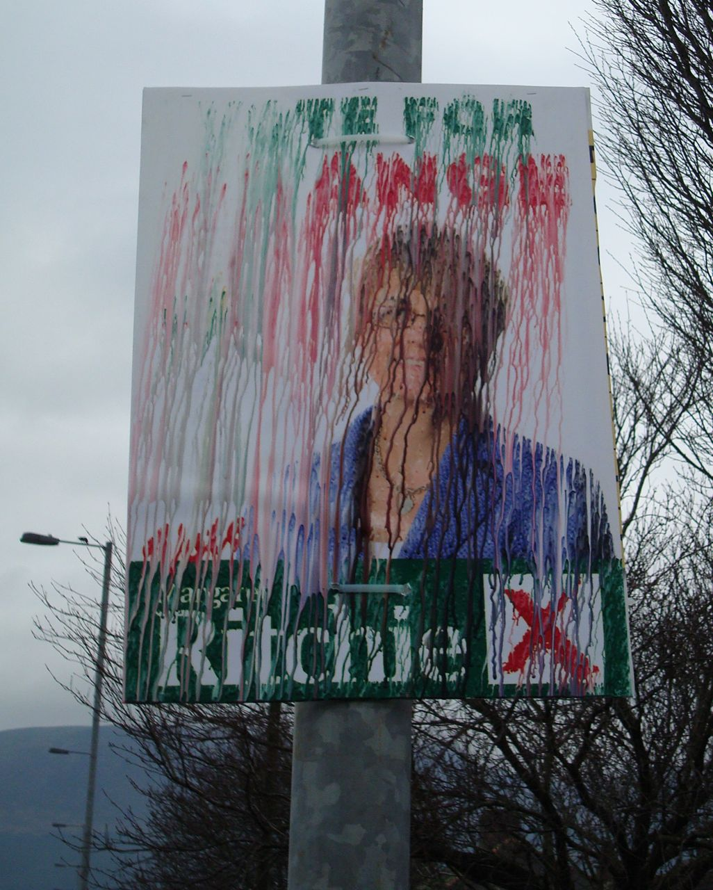 Margaret Ritchie SDLP leadership campaign promotional poster - with the ink running in the Newcastle rain