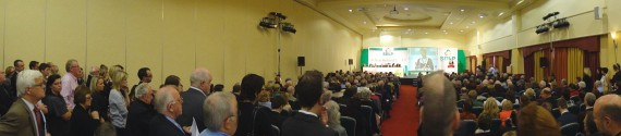 Standing room only in the hall for Margaret Ritchie's speech