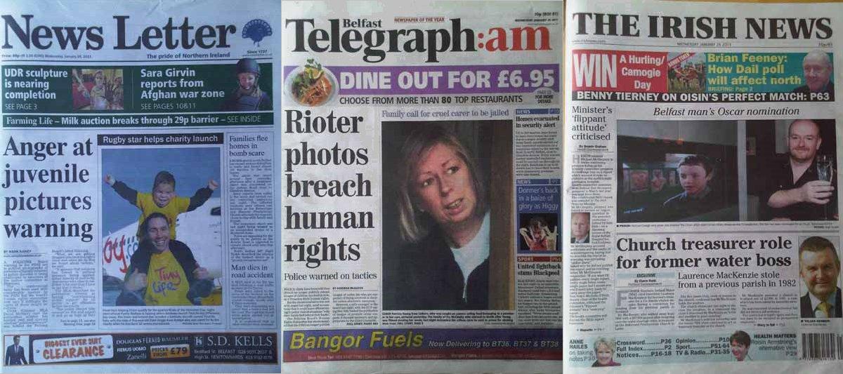 News Letter Belfast Telegraph Irish News