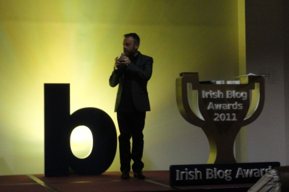 Rick O'Shea kicking off the Irish Blog Award 2011 ceremony