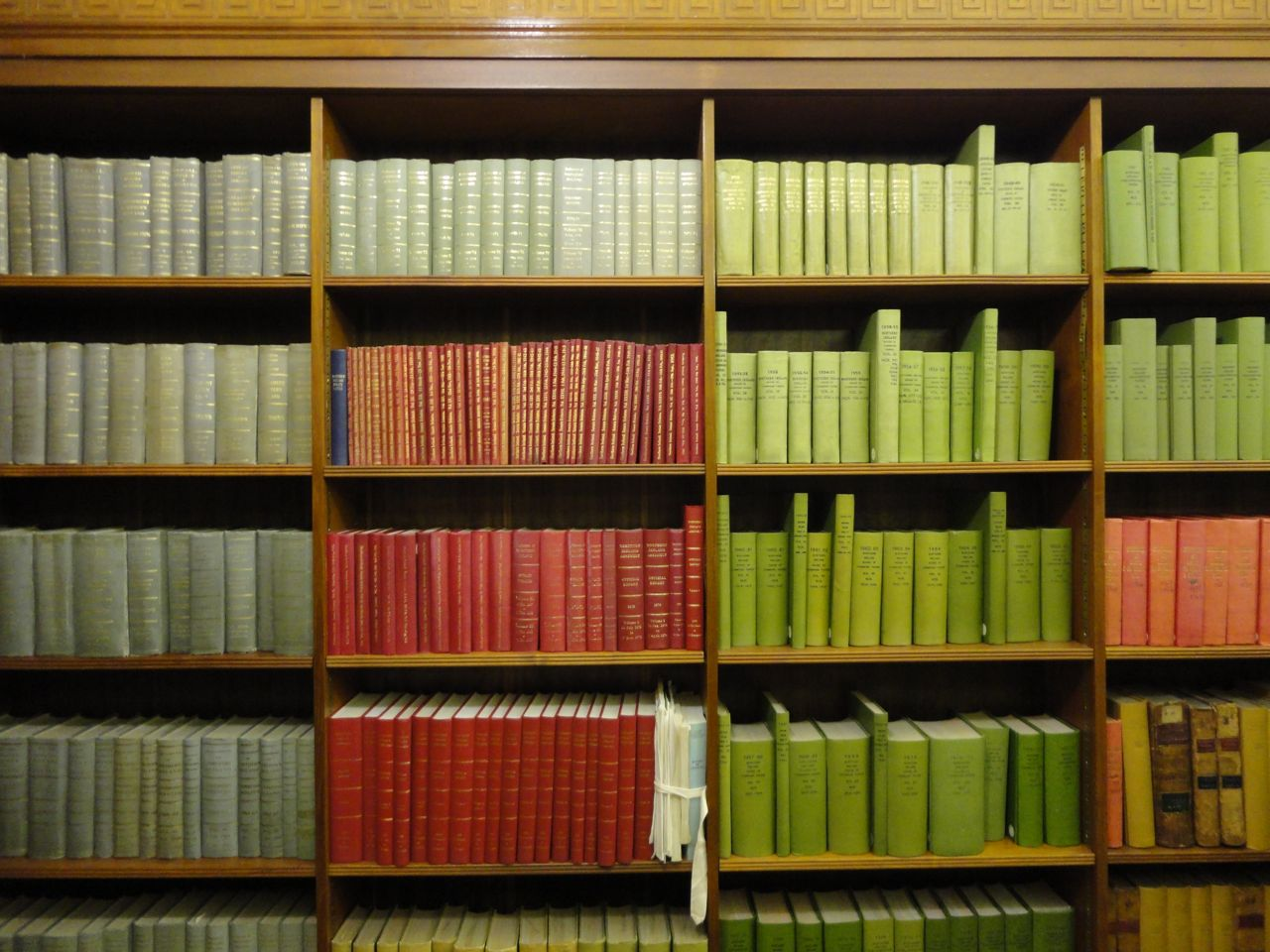 Colourful bookshelves in NI Assembly Library