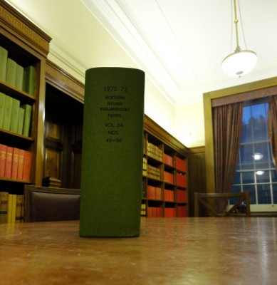 1973 papers from NI Parliament in NI Assembly Library