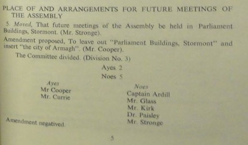 Close-up from 1973 NI Parliament papers showing attempt to move proceedings to Armagh