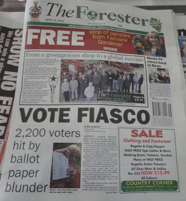 Forest of Dean - Vote Fiasco - front page of The Forester