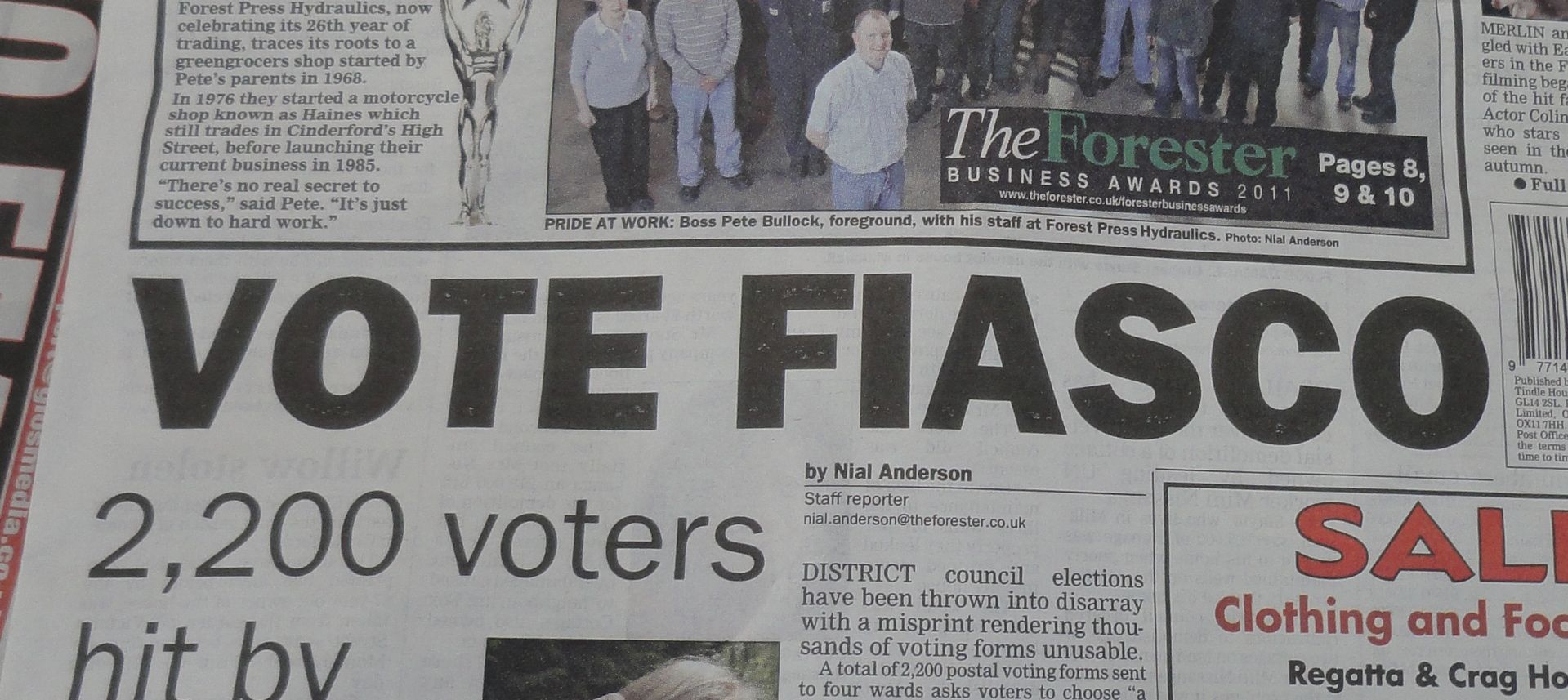 Forest of Dean - Vote Fiasco - headline from The Forester