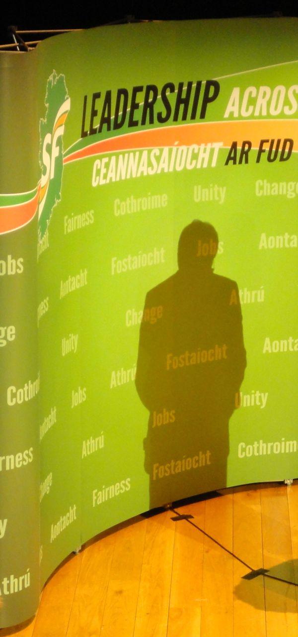 Sinn Fein Gerry Adams shadow at 2011 manifesto launch