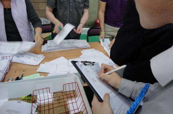 Stephen Stewart tallying East Belfast Assembly ballots