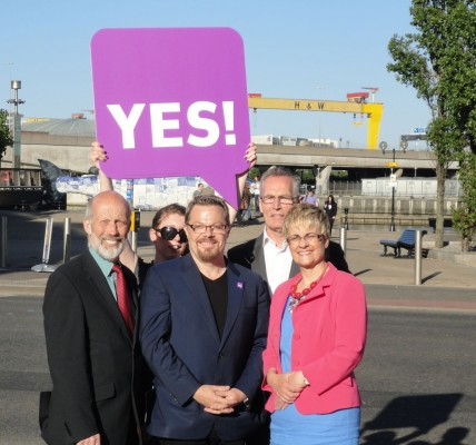 Representatives from local parties supporting AV meeting Eddie Izzard