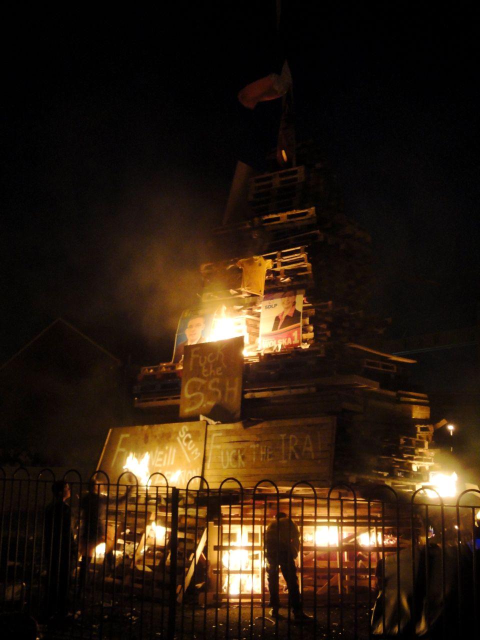 Pitt Park bonfire soon after it was lit