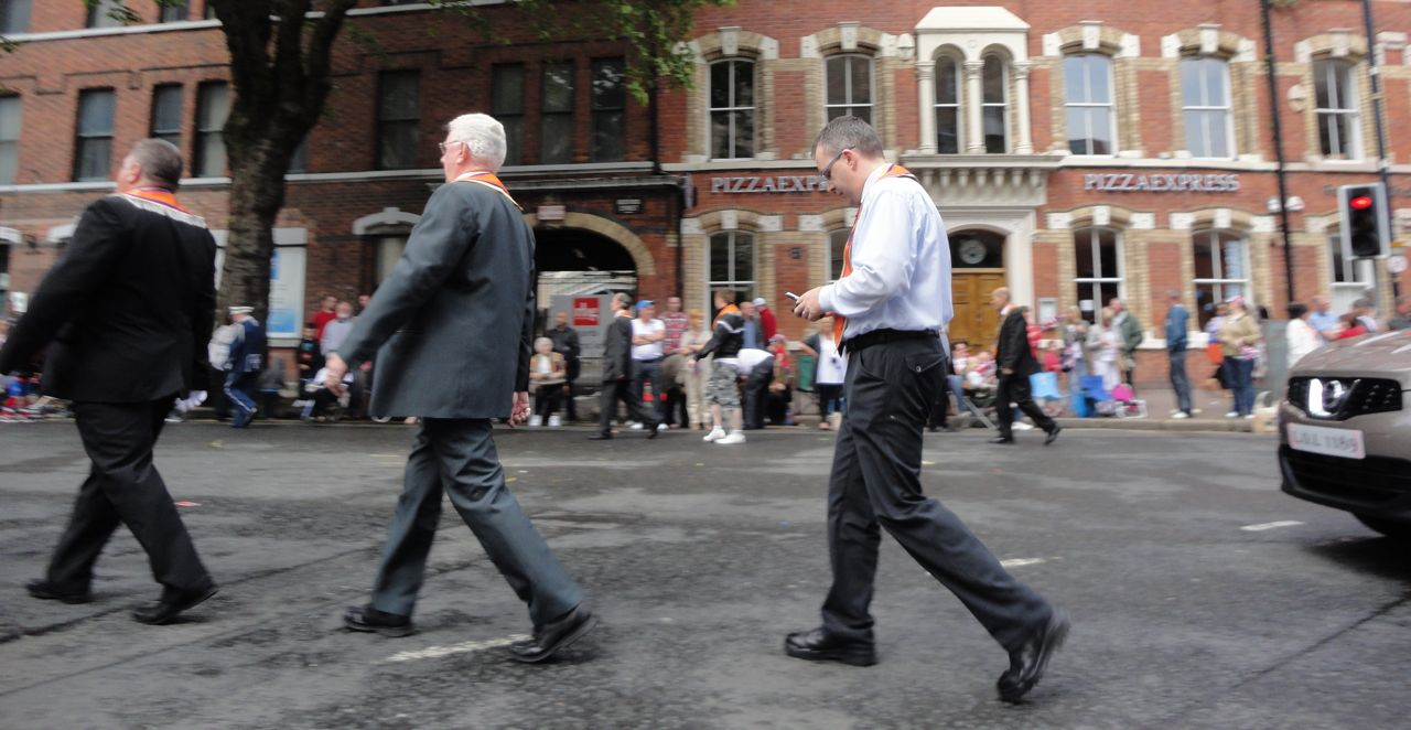 Lee Reynolds in transit at Belfast's Orange Parade, 12 July 2011