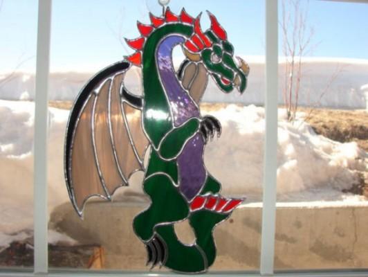 celtic dragon suncatcher by grassymtarts on Etsy