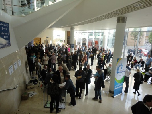 People queuing to register at Sinn Féin Ard Fheis 2011