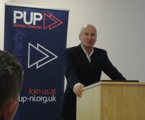 Billy Hutchinson speaking after taking over as PUP leader