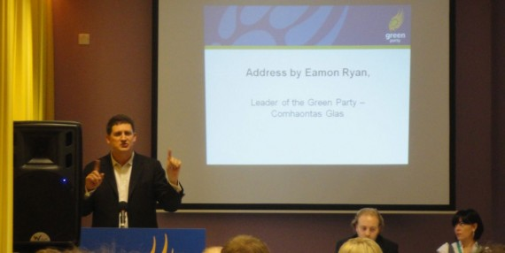 Eamonn Ryan speaking at Green Party NI conference