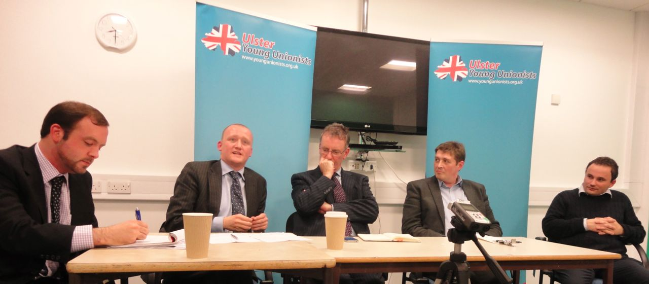 Robert Price, Iain McGill, Mike Nesbitt, Bill Manwaring, Ian Parsley at Young Unionists debate asking Is Murdo Fraser Right?