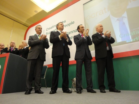 Attwood, McGlone and McDevitt applauding the new SDLP leader