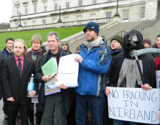 No Fracking petition outside Parliament Buildings