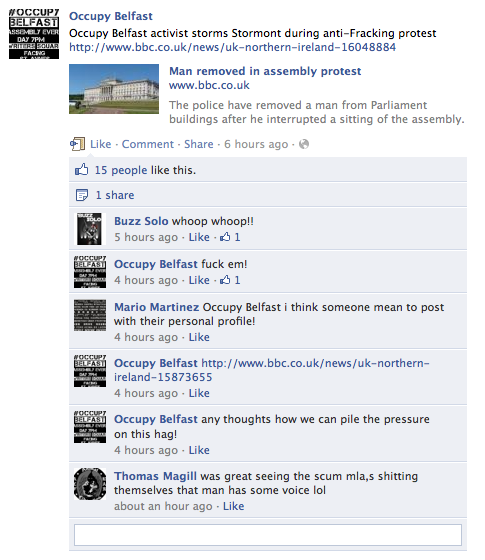 Occupy Belfast facebook post about NI Assembly heckled protect