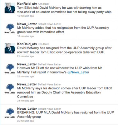 Tweets about David McNarry resigning from UUP Assembly Group