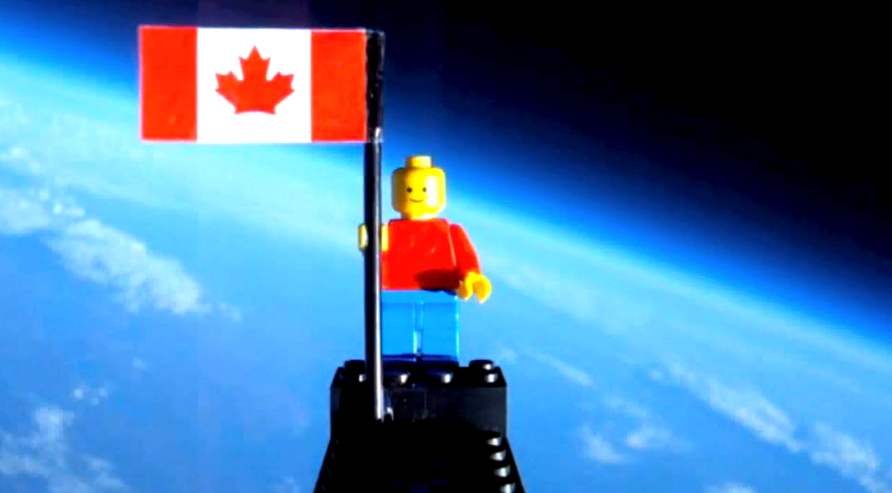 Canadian teenagers Mathew Ho and Asad Muhammad launch a Lego man into space and he safely returns to Earth