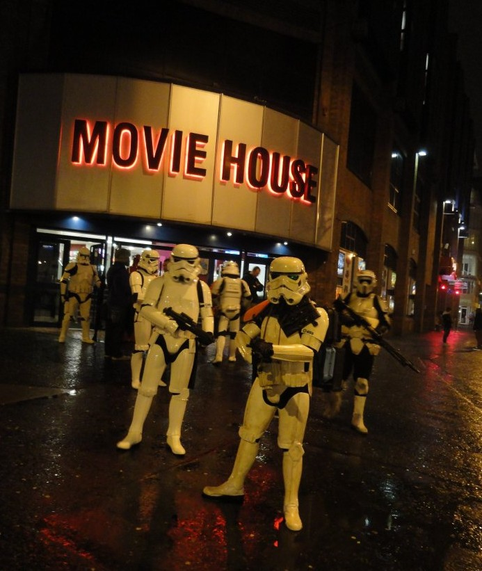 Stormtroopers gathering outside Dublin Road Movie House