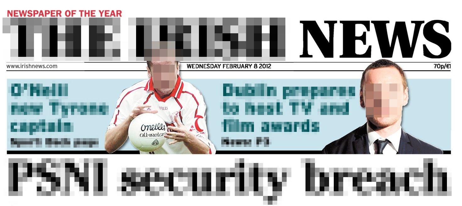 pixelated Irish News masthead