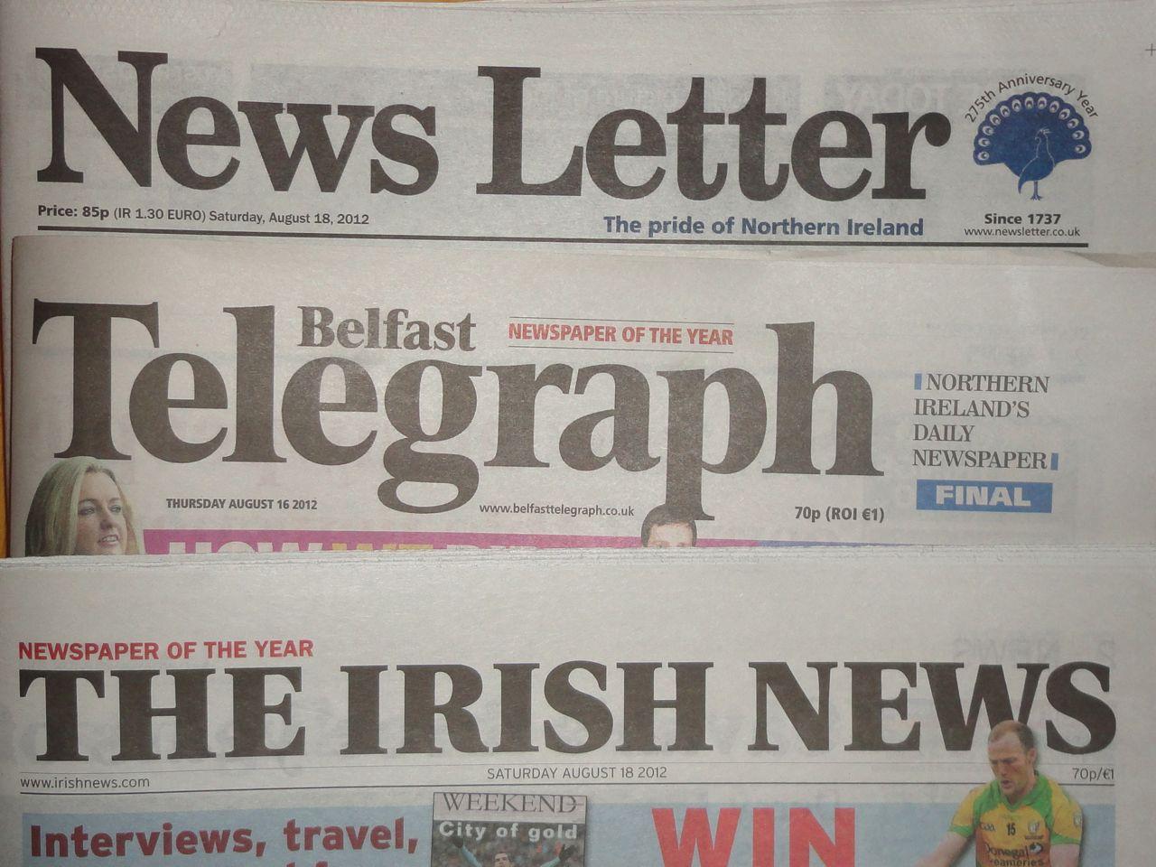 local paper mastheads Belfast Telegraph Irish News News Letter