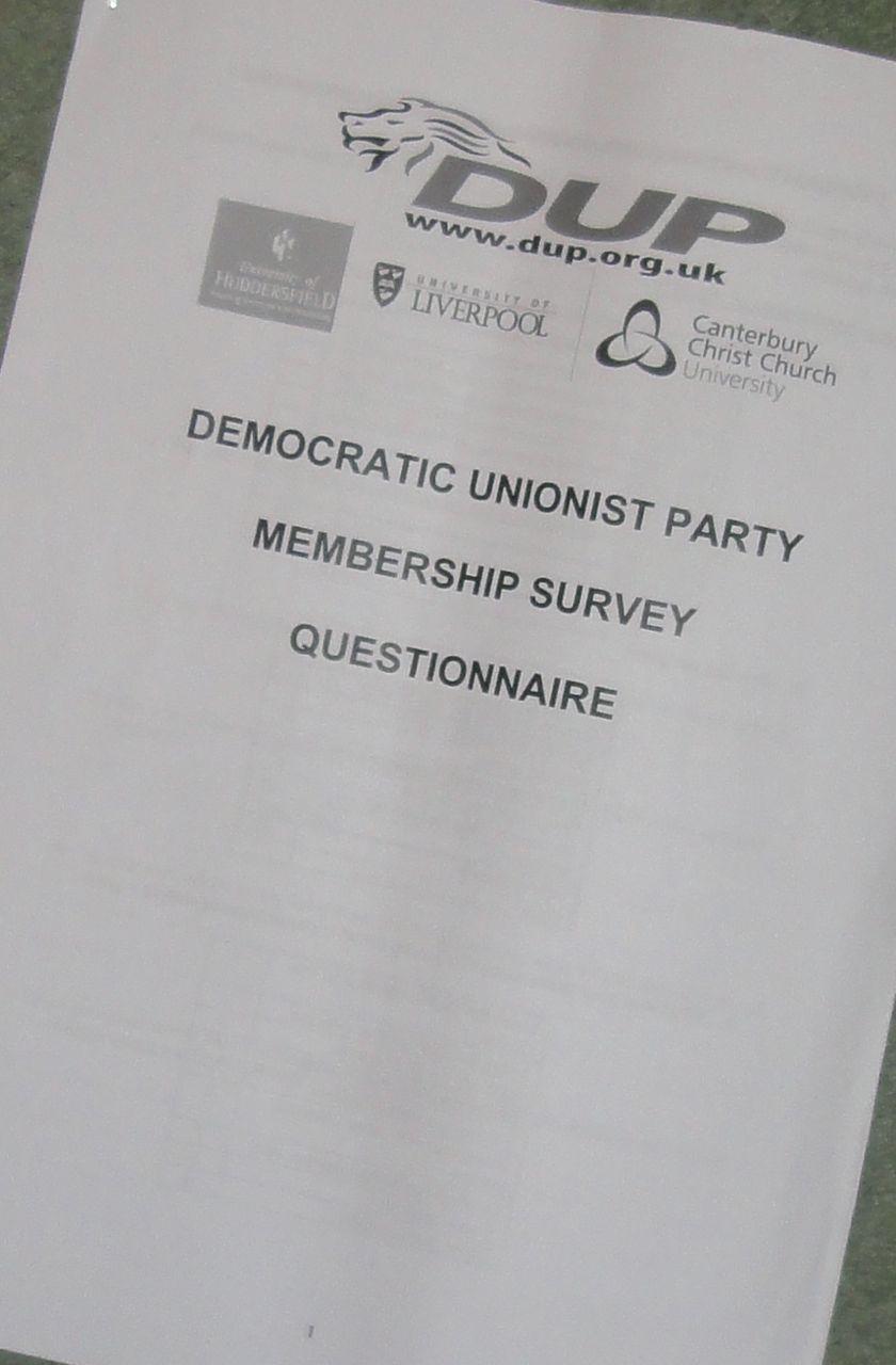 DUP 2012 membership survey front page