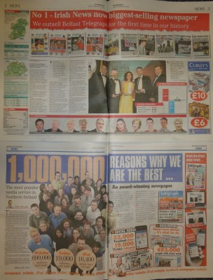 Irish News and Belfast Telegraph celebrate circulation/readership figures