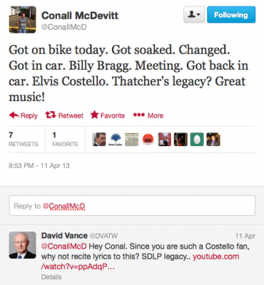 Conall McDevitt tweet David Vance reply