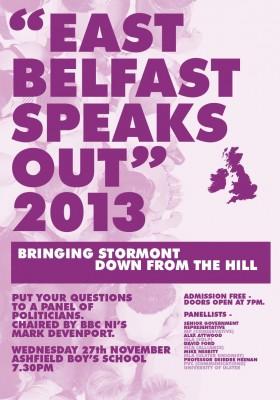 East Belfast Speaks Out Nov 2013 poster