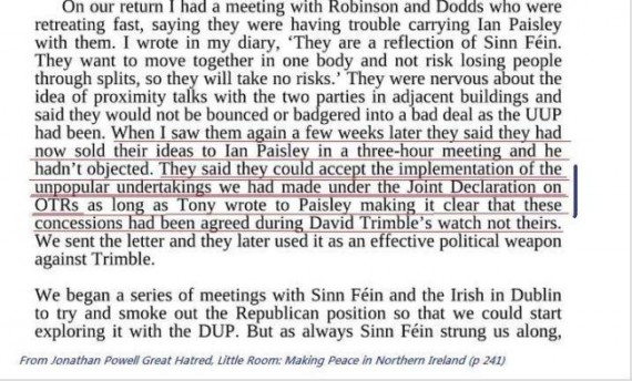 Powell on OTRs and DUP