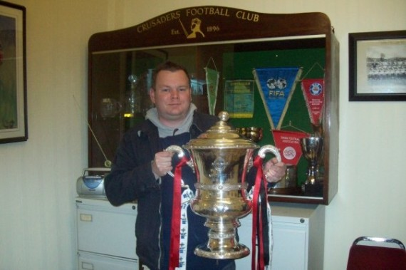 Matthew Collins with the Irish Cup. Seaview, 2009