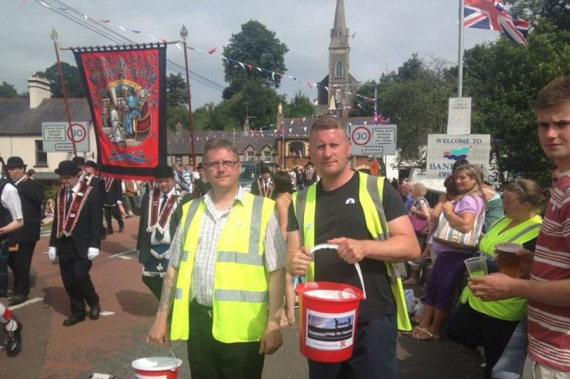 Jim Dowson, Paul Golding and their trusty buckets. Scarva, July 13th 2013