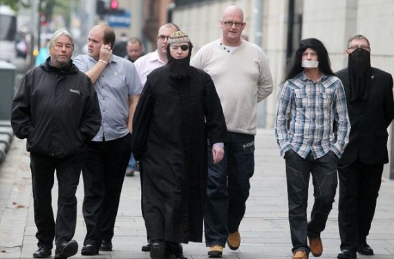 Jim Dowson (far right) with Willie Frazer, Cher/Jon Bon Jovi & assorted Protestant Coalition members
