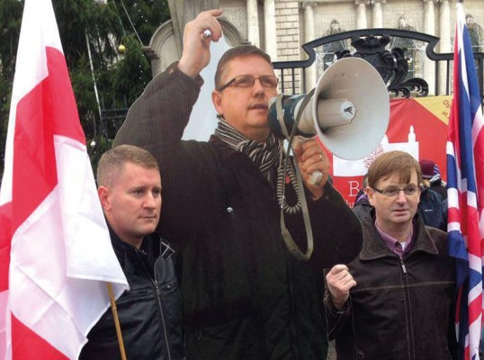 Paul Golding, cardboard cut-out of Jim Dowson, Willie Frazer