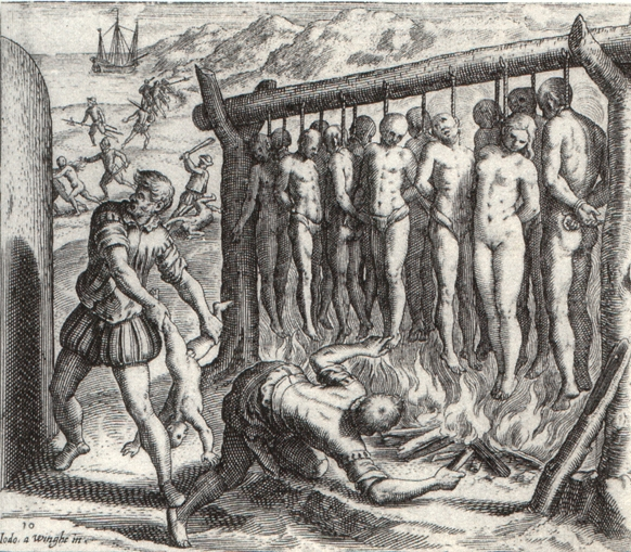 """Woodcut by Theodor de Bry, taken from a 1580s printing of Las Casas's """"Short Account"""""""