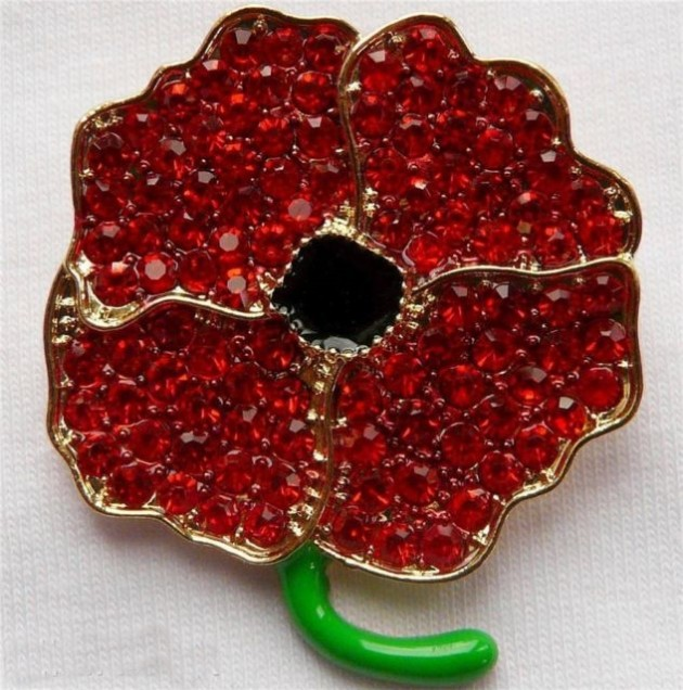 Crystal Poppy Brooch - 10% donation to Royal British Legion