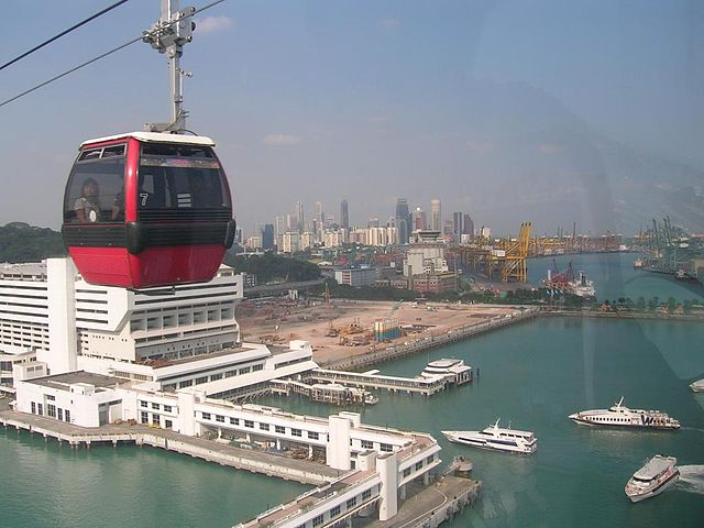 """View of HarbourFront and a cable car from Singapore Cable Car"" by SGTOSA"