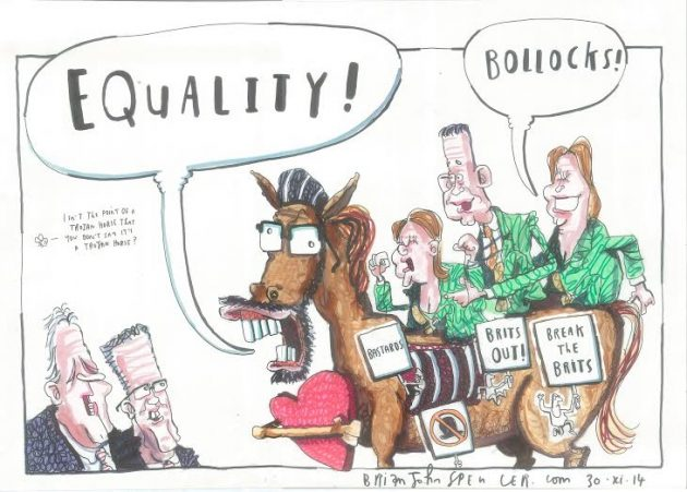 Gerry Adams trojan horse, cartoon, Brian John Spencer