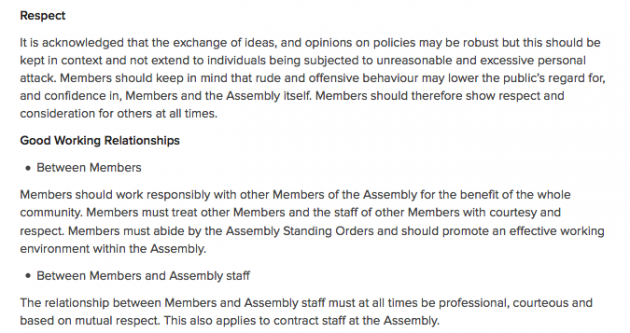 NI Assembly Code of Conduct