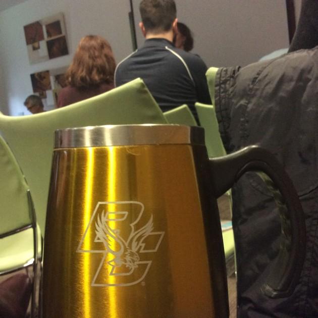 Boston College Mug used at Role of History and Historians seminar
