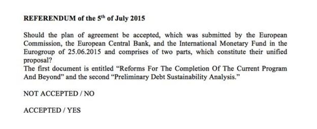 Greek Referendum Question 5 July 2015