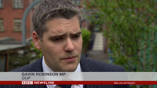 Gavin Robinson BBC interview about bonfires screengrab